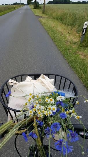 Auf dem Rad, eine sommerliche Brise weht uns um die Nase und frisch geplückte Wiesenblumen im Gepäck - so geht es uns gut!